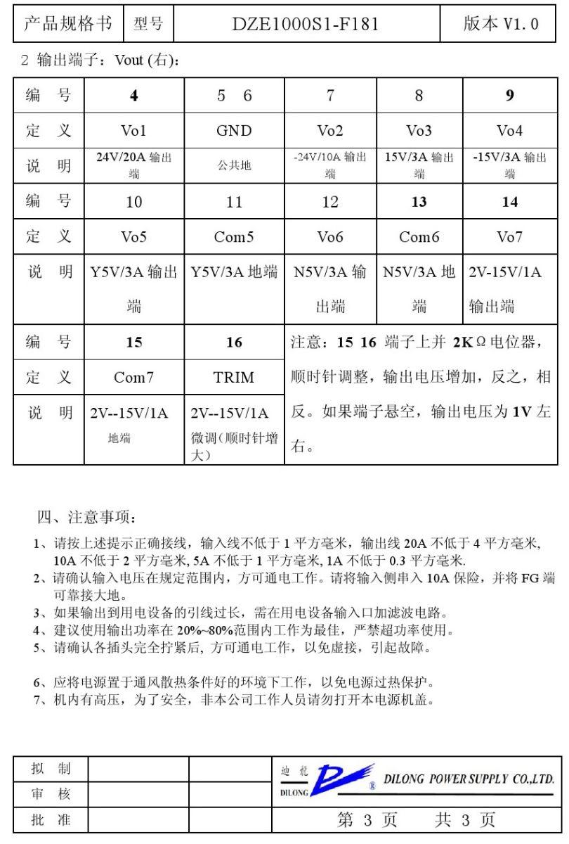 非标定制产品 散热器封装型DZE1000S1说明书