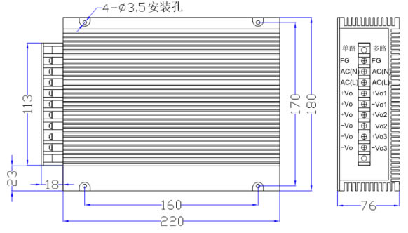 100W 线性电源(一体化) DLX系列产品图