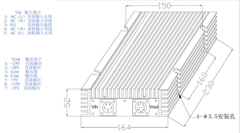 1000W DZAC-SC系列 恒流充电模块外形图