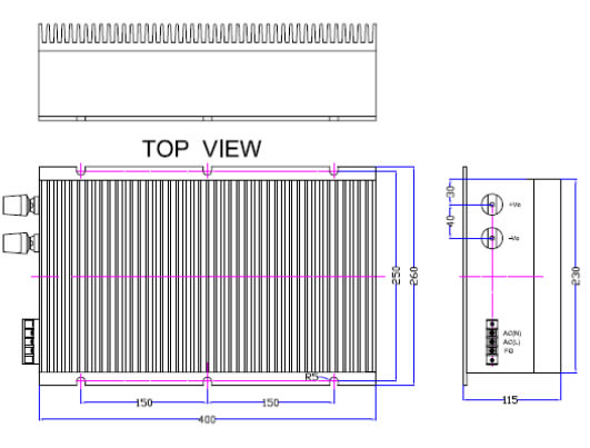2000W DZAEC2000RA系列 无间断备份电源外形图