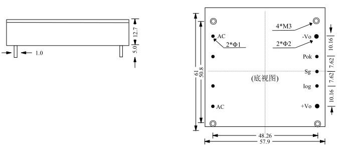 500W 半砖系列 AC谐波抑制模块DBM500-PFC外形图