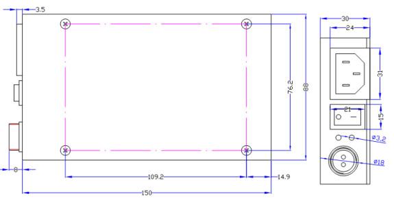 高端适配器 - KG系列 200W外形尺寸