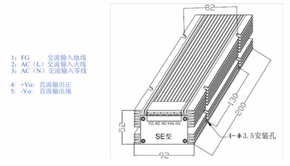 LED驱动电源 400W-SE系列 恒流电源外形图